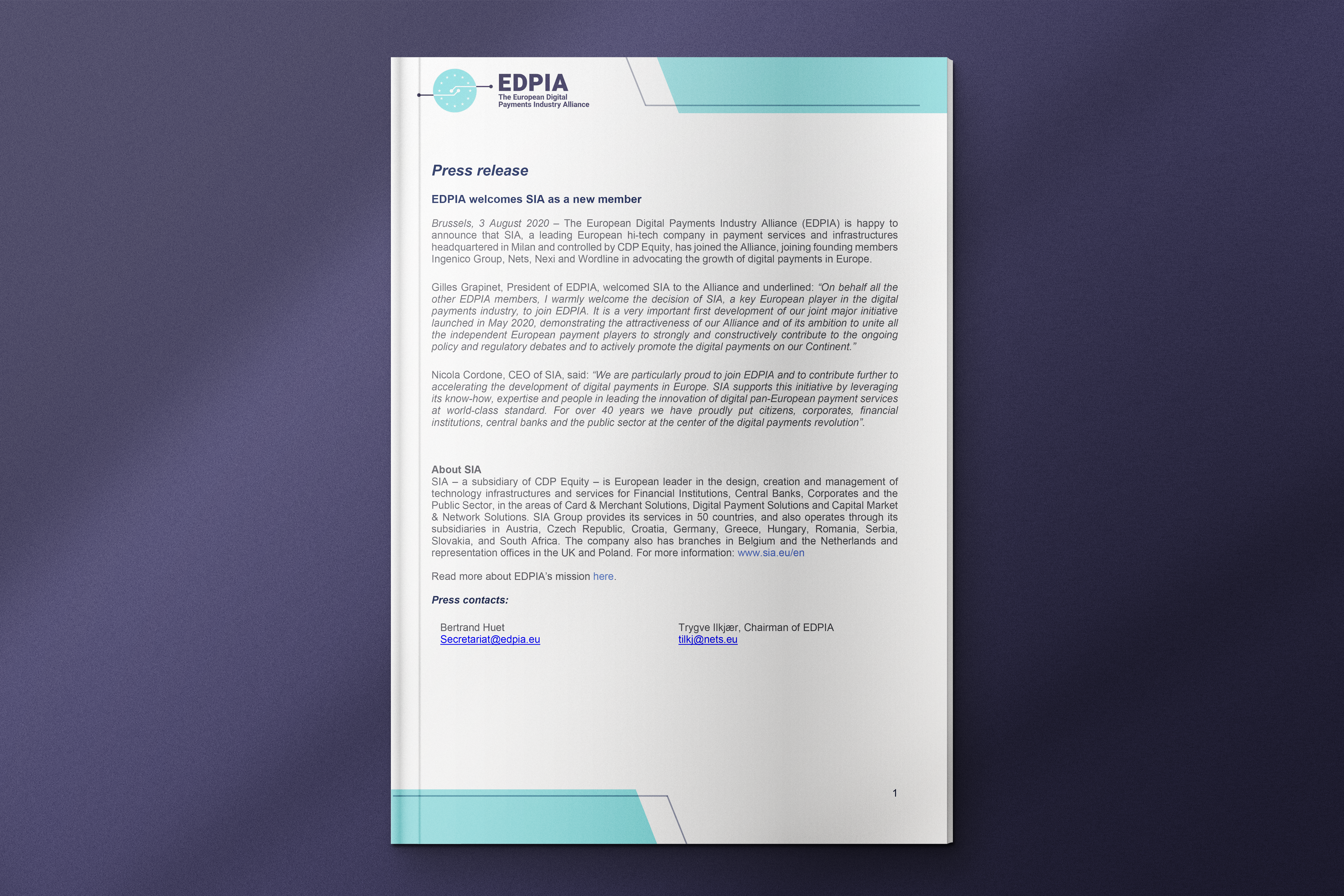 Sia Payments New Member Press Release Preview Picture